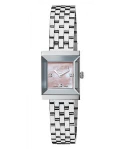 GUCCI DAMENUHR G-FRAME SQUARE MEDIUM Ref: YA128401 DIAMANTEN PERLMUTT